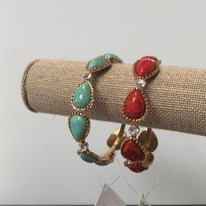 Set of 2 faux turquoise bracelet w/rhinestones